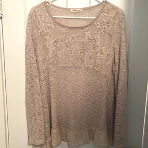 Indigo Soul Cream Lightweight Embroidered Sweater